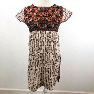 Batik Embroidered Indian Dress cream Orange Black